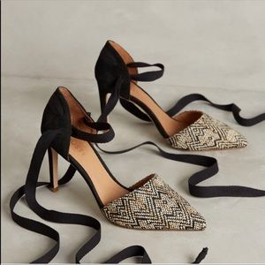 RAFIA SUEDE ANTHROPOLOGY TRIBAL PRINT HEELS